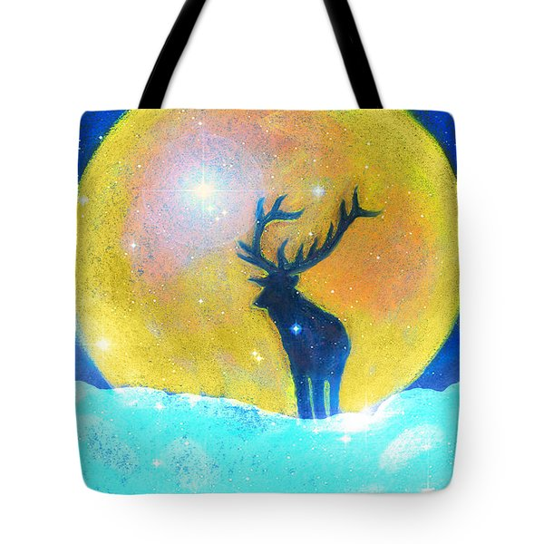 Stag Of Winter Tote Bag