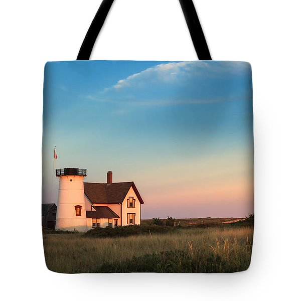 Stage Harbor Lighthouse Tote Bag by Bill Wakeley