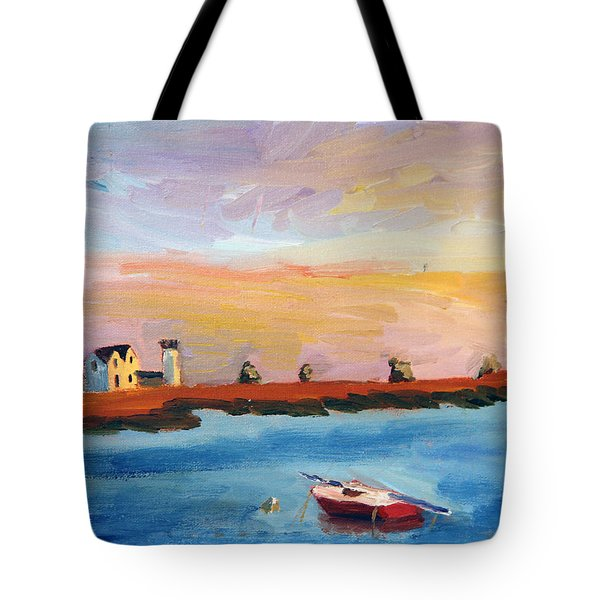 Stage Harbor Sunset Tote Bag