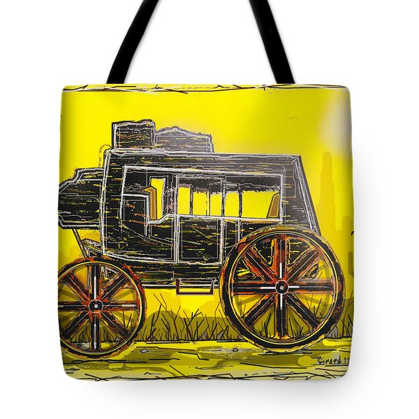 Tote Bag featuring the mixed media Stagecoach by Jason Girard