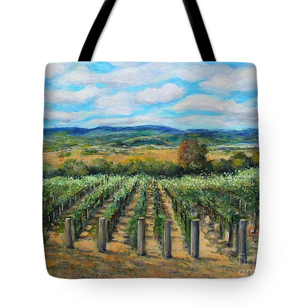 Tote Bag featuring the painting Stags' Leap Vineyard by Rita Brown