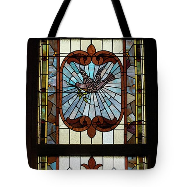 Stained Glass 3 Panel Vertical Composite 03 Tote Bag by Thomas Woolworth