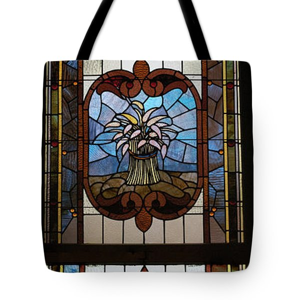Stained Glass 3 Panel Vertical Composite 04 Tote Bag by Thomas Woolworth