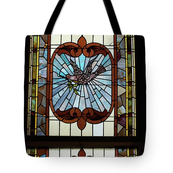 Stained Glass 3 Panel Vertical Composite 05 Tote Bag by Thomas Woolworth