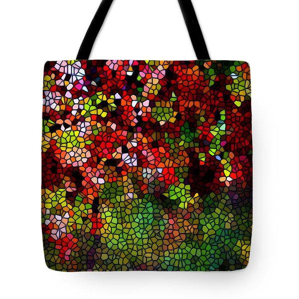Stained Glass Autumn Leaves Reflecting In Water Tote Bag by Lanjee Chee