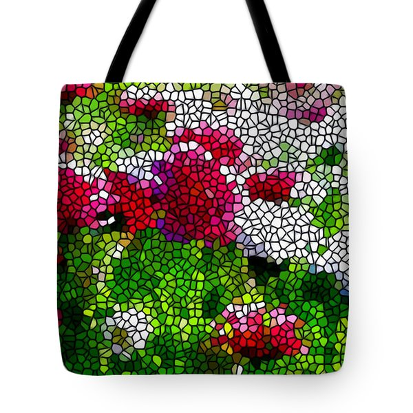 Stained Glass Chrysanthemum Flowers Tote Bag by Lanjee Chee