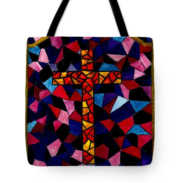 Stained Glass Cross Tote Bag by Michael Vigliotti