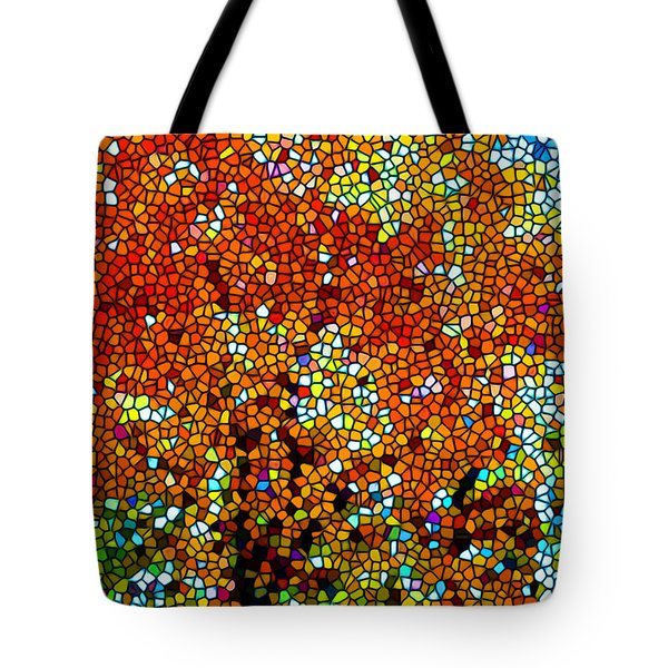 Stained Glass Fall Orange Maple Tree Tote Bag by Lanjee Chee