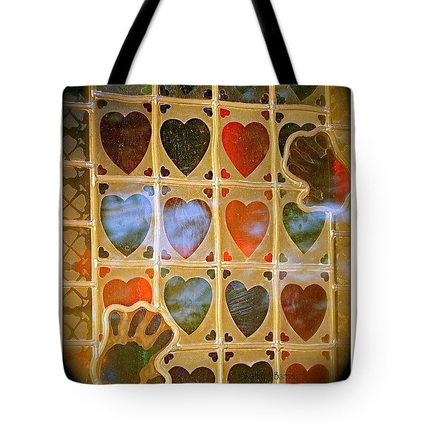 Tote Bag featuring the photograph Stained Glass Hands And Hearts by Kathy Barney