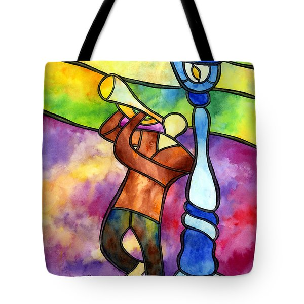 Stained Glass Jazzman Tote Bag