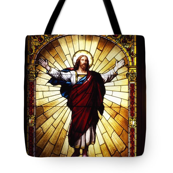 Stained Glass Jesus Tote Bag by Mountain Dreams