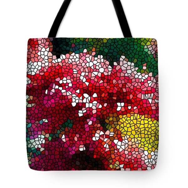 Stained Glass Red Chrysanthemum Flowers Tote Bag by Lanjee Chee