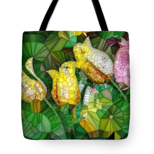 Stained Glass Series - Tulips Tote Bag