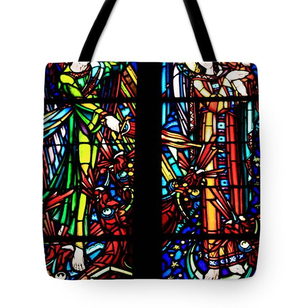 Stained Glass Window At Mont  Le Saint-michel Tote Bag