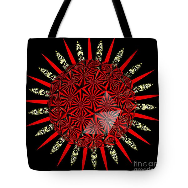 Stained Glass Window Kaleidoscope Polyhedron Tote Bag by Rose Santuci-Sofranko