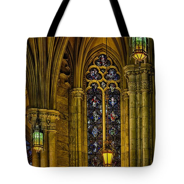 Stained Glass Windows At Saint Patricks Cathedral Tote Bag by Susan Candelario