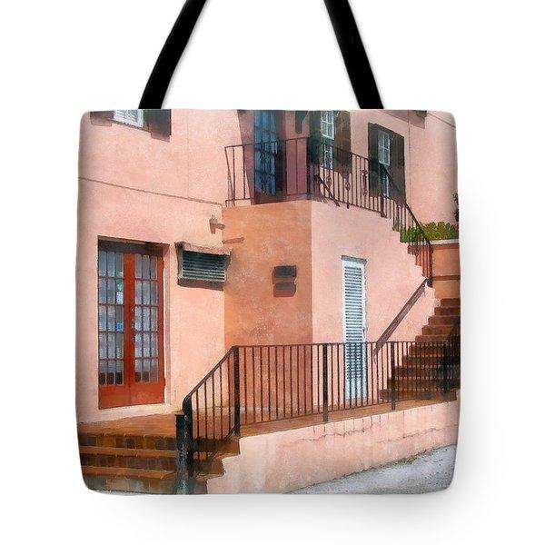 Staircase In Bermuda Tote Bag by Susan Savad