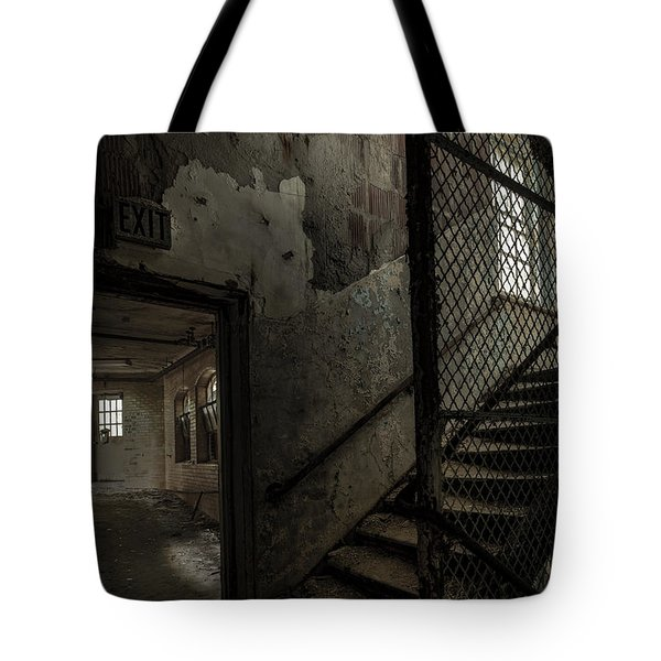 Stairs And Corridor Inside An Abandoned Asylum Tote Bag by Gary Heller