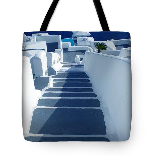 Stairs Down To Ocean Santorini Tote Bag
