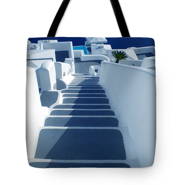 Stairs Down To Ocean Santorini Tote Bag