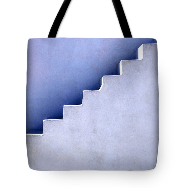 Stairs In Santorini Tote Bag by Bob Christopher