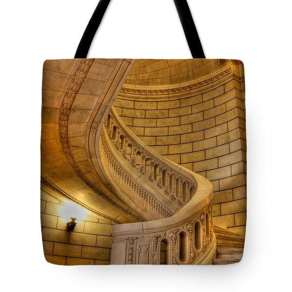Stairs Of Mythical Proportion Tote Bag by David Bearden