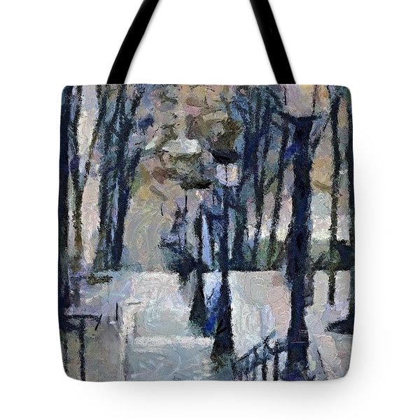 Stairs With Lamps Tote Bag
