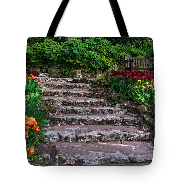 Stairs With Tulips. Keukenhof Garden. Netherlands Tote Bag