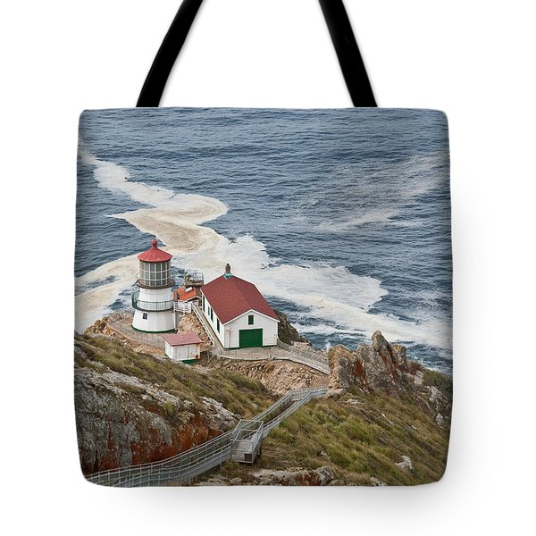 Tote Bag featuring the photograph Stairway Leading To Point Reyes Lighthouse by Jeff Goulden
