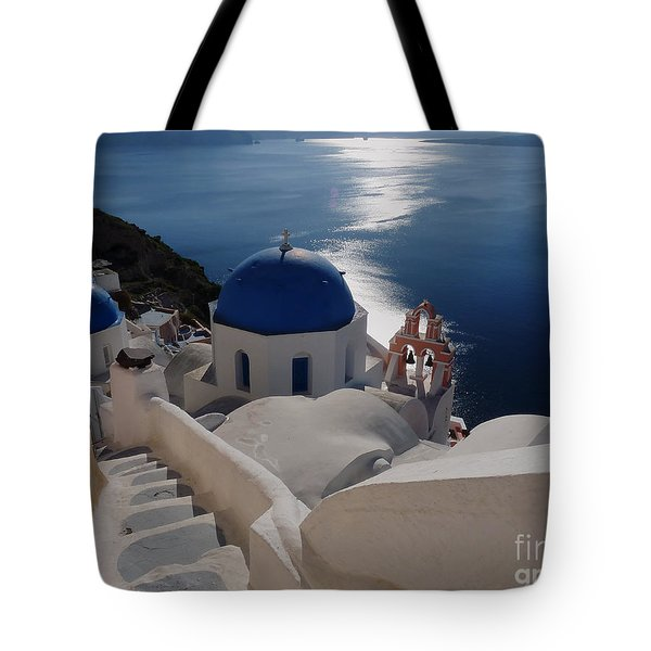 Stairway To The Blue Domed Church Tote Bag