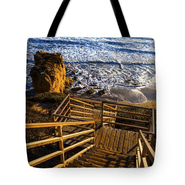 Tote Bag featuring the photograph Steps To Blue Ocean And Rocky Beach by Jerry Cowart