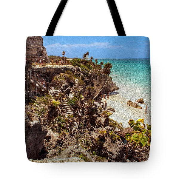 Stairway To The Tulum Beach  Tote Bag by John M Bailey