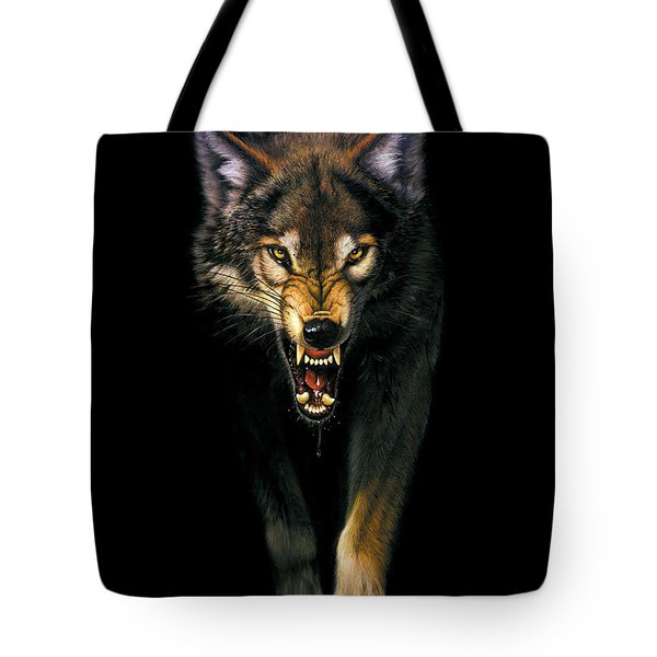 Stalking Wolf Tote Bag by MGL Studio - Chris Hiett