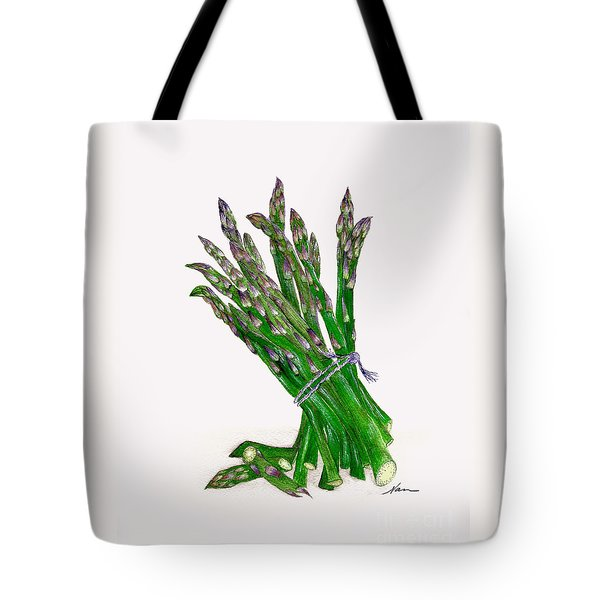Stalks Of Green Asparagus Fresh From The Garden Tote Bag by Nan Wright