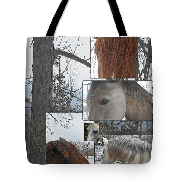 Stallions Collage There Is A Connection Tote Bag by Patricia Keller