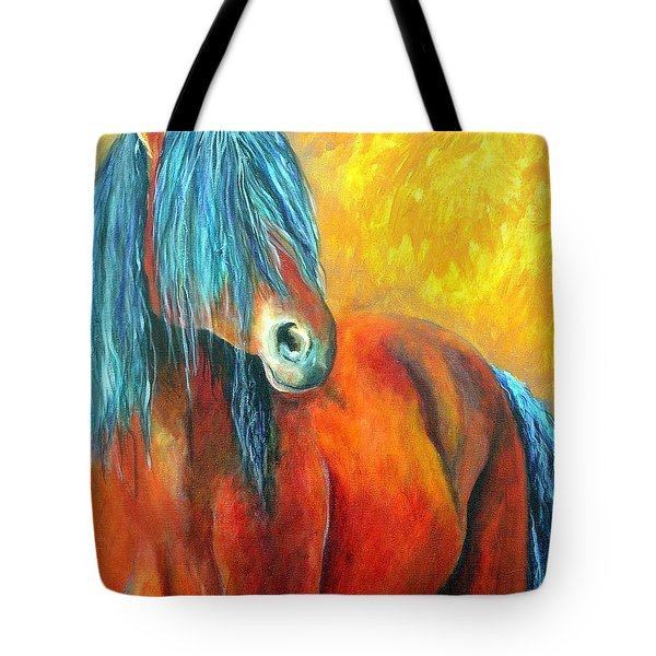 Tote Bag featuring the painting Stallions Concerto  by Alison Caltrider