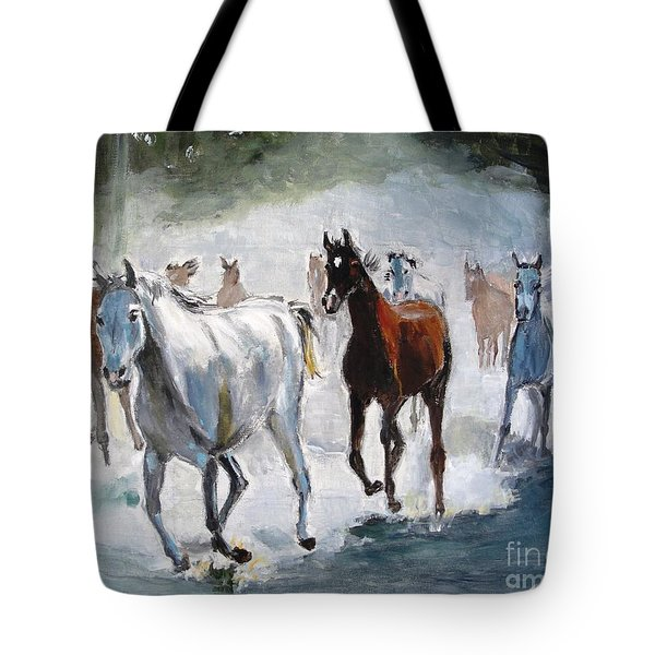 Tote Bag featuring the painting Stampede by Judy Kay