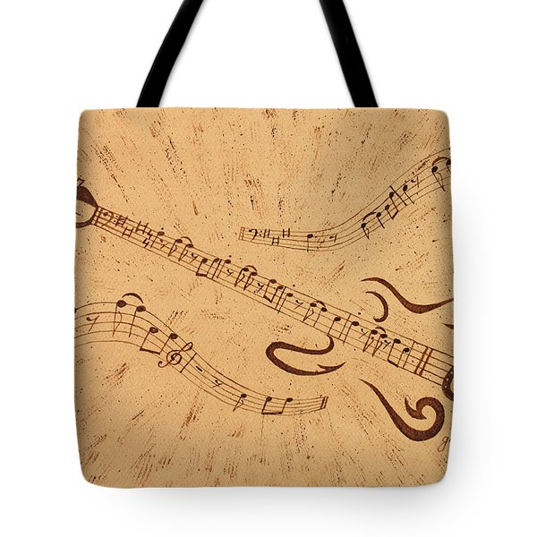 Stand By Me Guitar Notes Original Coffee Painting Tote Bag