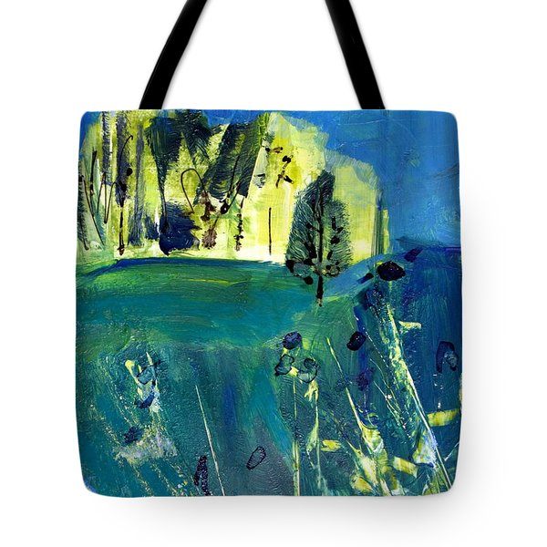 Stand Of Trees In Distance Tote Bag