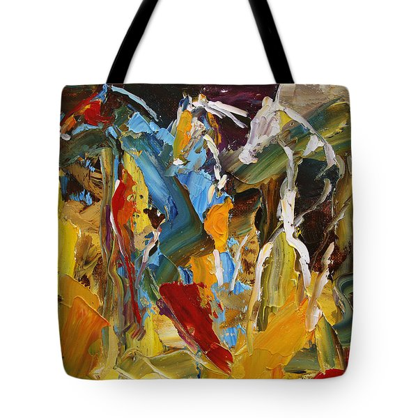 Stand Off At The Brazos River  Horse 26  2014 Tote Bag