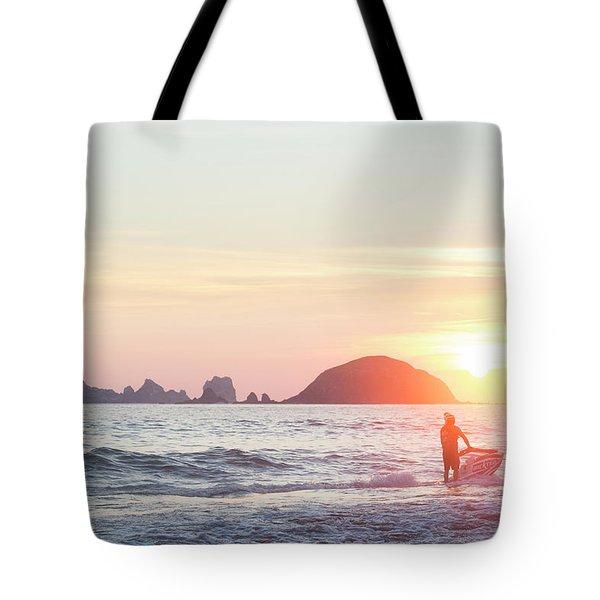Stand Up Jet Ski Rider At Sunset Tote Bag