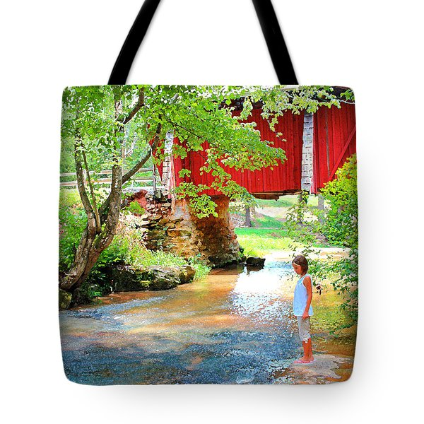 Standing By The River At Campbell's Bridge Tote Bag