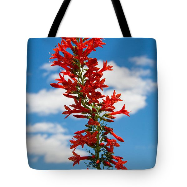 Standing Cypress With Clouds Tote Bag