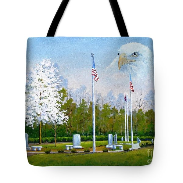 Standing Guard Over Veterans Park Tote Bag