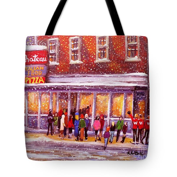 Tote Bag featuring the painting Standing In Line At The Chateau by Rita Brown