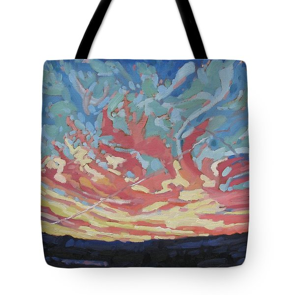 Standing Outside The Fire Tote Bag by Phil Chadwick