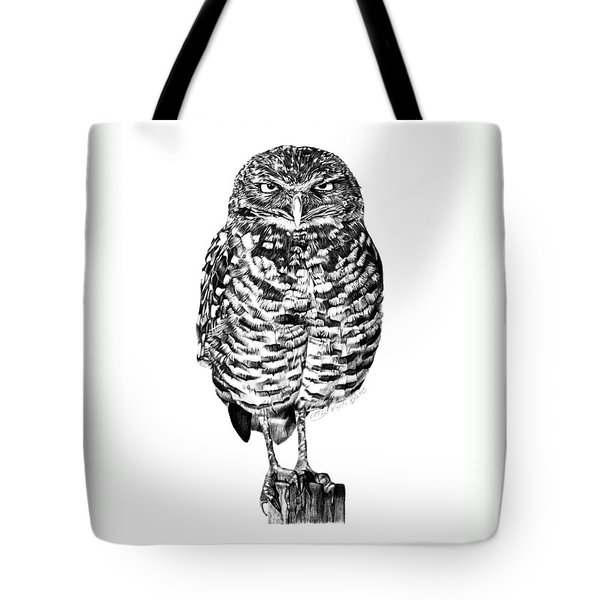 Tote Bag featuring the drawing 041 - Owl With Attitude by Abbey Noelle
