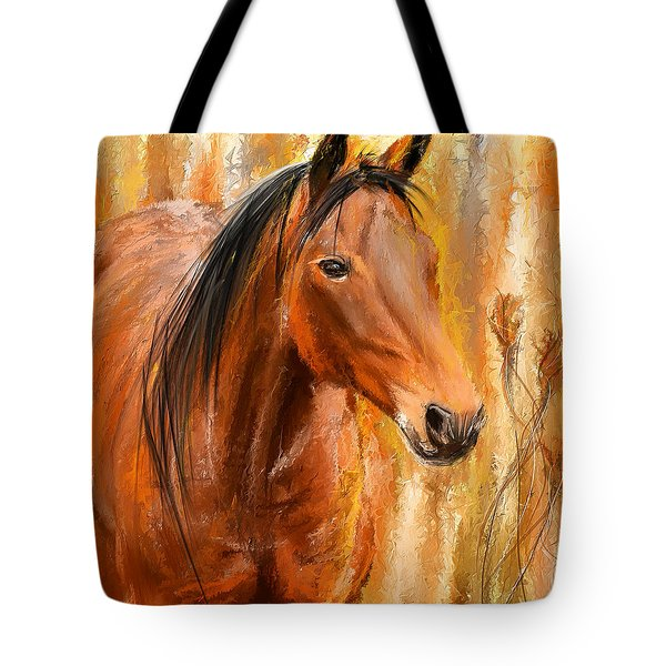 Standing Regally- Bay Horse Paintings Tote Bag