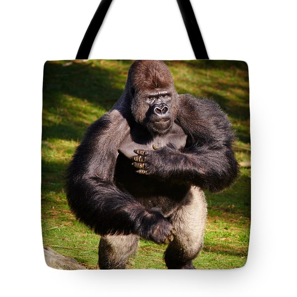 Standing Silverback Gorilla Tote Bag