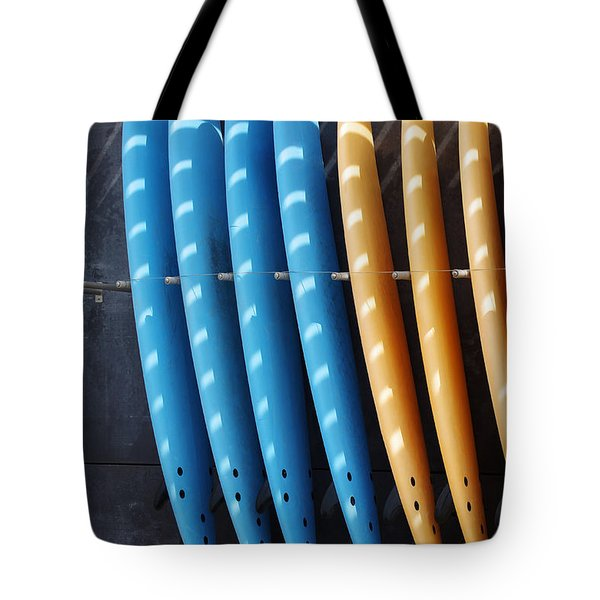 Standing Surf Boards Tote Bag by Carlos Caetano